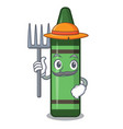 farmer green crayon above character wooden table vector image vector image