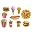 Fast food snacks and drinks icons sketch set vector image