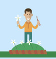 gardener cut flowers vector image