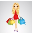Girl In Red Dress With Shopping Bags vector image