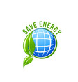 green energy planet ecology save earth icon vector image