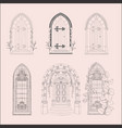 hand drawn sketch vintage doors gates windows vector image