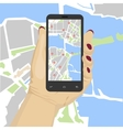 hand holding smartphone with mobile gps vector image