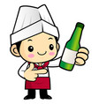 head chef character promotes a distilled spirits vector image vector image