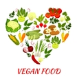 Heart shape icon with vegan vegetables elements vector image vector image