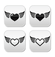 Heart with wings buttons set vector image vector image