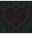 I Love You Techno Line Art Bakcground vector image