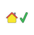icon concept house with check mark black vector image vector image