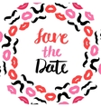 Lips and mustache wedding wreath post card vector image vector image