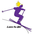 Love to Ski vector image vector image