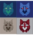 Low poly bobcats set vector image