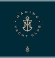 m monogram marine logo yacht club anchor vector image vector image