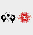 map markers icon and scratched rubber vector image vector image