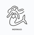 mermaid flat line icon outline vector image