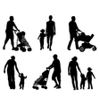 parents walking with their children vector image vector image