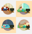 people watching tv at home flat vector image vector image