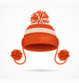 realistic 3d detailed red knitted hat vector image