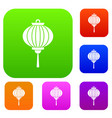red chinese lantern set color collection vector image vector image