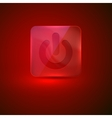 red glass button with power icon vector image