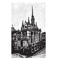 sainte chapelle cathedral vintage engraving vector image vector image