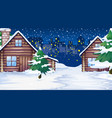 scene with houses in snow vector image vector image