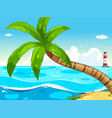 scene with ocean and lighthouse vector image vector image