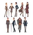 self confident victorian gentlemen characters set vector image vector image