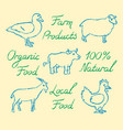 set hand drawn farm animals icons and lettering vector image vector image