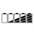 set of five batteries with different charge vector image vector image