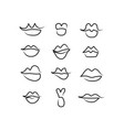 set one line lips isolated on white vector image