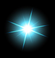 shining star on black background aqua color vector image vector image