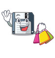 shopping floppy disk isolated with a mascot vector image vector image