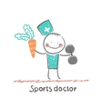 Sports doctor offers a carrot and holding vector image