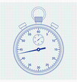 stop watch blue on lined paper vector image