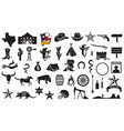 texas icons set vector image vector image
