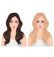 two woman blonde and brunette with long vector image