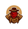 western cowboy with red scarf mascot logo vector image vector image