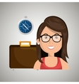woman suitcase travel location vector image