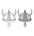 horned viking helmets hand drawn sketch vector image