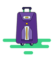 Luggage bag with wheels isolated on a white backg vector image