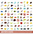 100 pets icons set flat style vector image vector image