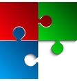 3 Puzzles Red Green Blue RGB Pieces JigSaw vector image vector image