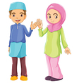 A male and a female Muslim vector image vector image