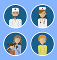a set of icons doctor nurse and patients vector image