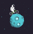 astronaut rides uround moon vector image