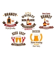 Bar icons set Beer whiskey brandy alcohol icons vector image vector image