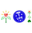 biohazard mosaic life icon with medical textured vector image vector image
