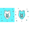 black line bear head icon isolated on green and vector image vector image
