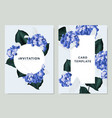 blue hydrangea and philodendron silk leaves vector image vector image