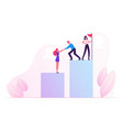 business people climbing up financial graph and vector image vector image